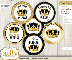 Baby Shower Royal King Cupcake Toppers Printable File for Little Royal and Mommy-to-be, favor tags, circle toppers, Crown, Gold Black