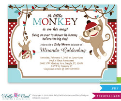 Sock Monkey Retro Boy Invitation, Boy Baby Card for a baby shower.Sock Mod Monkey, Argyle printable invitation, red,blue, brown