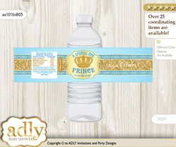 Royal Prince Water Bottle Wrappers, Labels for a Prince  Baby Shower, Blue Gold, Crown  n