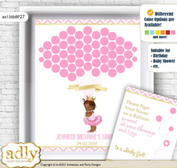 African Princess Guest Book Alternative for a Baby Shower, Creative Nursery Wall Art Gift, Pink Gold, Chevron