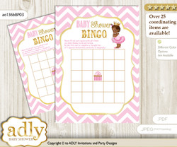 Printable Pink Gold Princess Bingo Game Printable Card for Baby African Shower DIY grey, Pink Gold, Chevron