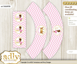 Printable African Princess Cupcake, Muffins Wrappers plus Thank You tags for Baby Shower Pink Gold, Chevron