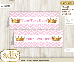 Text Editable Printable African Princess Buffet Tags or Food Tent Labels  for a Baby Shower or Birthday , Pink Gold, Chevron
