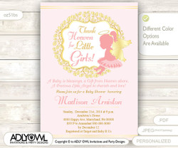 Little Angel Girl Invitation for GirlBaby Shower, powder pink and gold wreath, Pink Baptism, Christening Invite, winter-