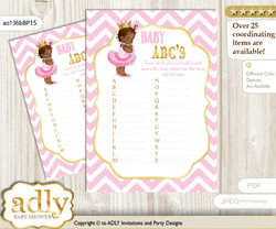 African Princess Baby ABC's Game, guess Animals Printable Card for Baby Princess Shower DIY – Chevron