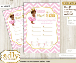 African Princess Dirty Diaper Game or Guess Sweet Mess Game for a Baby Shower Pink Gold, Chevron