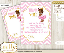 African  Princess Thank you Cards for a Baby African Shower or Birthday DIY Pink Gold, Chevron
