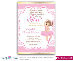 Girl Ballerina Invitation, Girl Baby Card for a baby shower.Girl ballet,crown,princess gold pink printable invitation