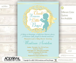 Little Angel Boy Invitation for Boy Baby Shower, teal mint wreath, Turquoise Baptism, Christening Invite, winter
