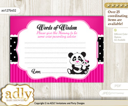 Pink Black Girl Panda Words of Wisdom or an Advice Printable Card for Baby Shower, Polka