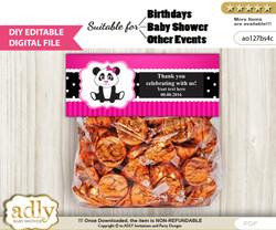 Text Editable Girl Panda Goodie  Treat Bag Toppers, DIY Favor Bag Digital File, print at home