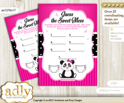 Girl Panda Dirty Diaper Game or Guess Sweet Mess Game for a Baby Shower Pink Black, Polka