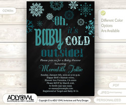 Oh Baby It's Cold Outside Invitation for Boy Baby Shower, teal mint snowflakes, Turquoise Christmas, Printable Invite, winter