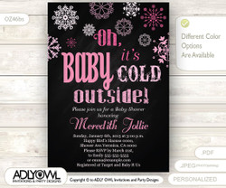 Oh Baby It's Cold Outside Invitation for Girl Baby Shower, pink snowflakes, Snowflakes, Tribal Christmas, Printable Invite, winter