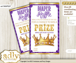 African Princess Diaper Raffle Printable Tickets for Baby Shower, Purple Gold, Crown