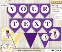 Personalizable African Princess Printable Banner for Baby Shower, Purple Gold, Crown