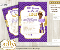 Printable African Princess Price is Right Game Card for Baby Princess Shower, Purple Gold, Crown