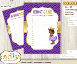 African Princess Memory Game Card for Baby Shower, Printable Guess Card, Purple Gold, Crown