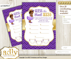 African Princess Dirty Diaper Game or Guess Sweet Mess Game for a Baby Shower Purple Gold, Crown