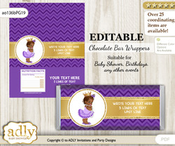 Personalizable African Princess Chocolate Bar Candy Wrapper Label for African  baby shower, birthday Purple Gold , editable wrappers