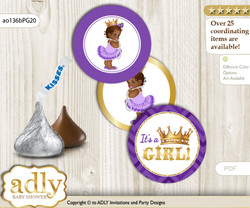 Printable  African Princess Candy Kisses for Baby African Shower DIY Purple Gold , Crown