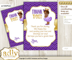 African  Princess Thank you Cards for a Baby African Shower or Birthday DIY Purple Gold, Crown