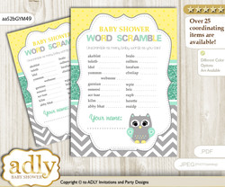 Neutral  Owl Word Scramble Game for Baby Shower