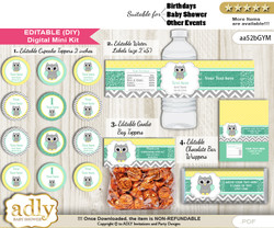 Text Editable Neutral  Owl Baby Shower, Birthday DIY digital package, kit-cupcake, goodie bag toppers, water labels, chocolate bar wrappers