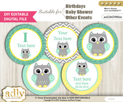 Text Editable Neutral  Owl Cupcake Toppers Digital File, DIY print at home, suitable for birthday, baby shower, baptism