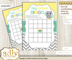 Printable Mint Yellow Owl Bingo Game Printable Card for Baby Neutral  Shower DIY grey, Mint Yellow, Chevron