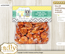Printable Neutral  Owl Treat or Goodie bag Toppers for Baby Neutral  Shower or Birthday DIY Mint Yellow, Chevron