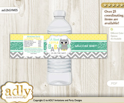 Neutral  Owl Water Bottle Wrappers, Labels for a Owl  Baby Shower, Mint Yellow, Chevron