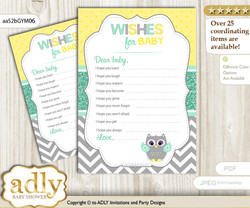 Neutral  Owl Wishes for a Baby, Well Wishes for a Little Owl Printable Card, Chevron, Mint Yellow