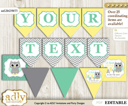 Personalizable Neutral  Owl Printable Banner for Baby Shower, Mint Yellow, Chevron