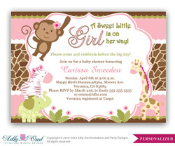 Girl Monkey Jungle Safari Invitation, Jungle Girl Baby Shower Card for a baby shower.Monkey in Jungle,palm, bow,chevron,printable
