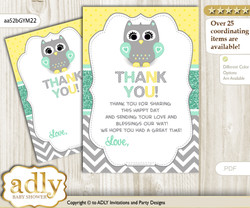 Neutral   Owl Thank you Cards for a Baby Neutral  Shower or Birthday DIY Mint Yellow, Chevron
