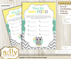 Neutral  Owl Guess Baby Food Game or Name That Baby Food Game for a Baby Shower, Mint Yellow Chevron