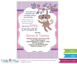 Girl Monkey Invitation, Jungle Girl Sock Monkey Purple Pink Card for a baby shower.Swing On over