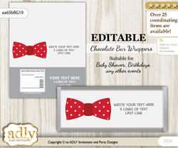 Personalizable Boy Bow tie Chocolate Bar Candy Wrapper Label for Boy  baby shower, birthday Red Grey , editable wrappers
