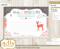 Coral Aqua Girl Deer Words of Wisdom or an Advice Printable Card for Baby Shower, Forest