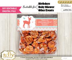 Text Editable Girl Deer Goodie  Treat Bag Toppers, DIY Favor Bag Digital File, print at home