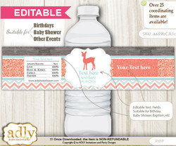 Text Editable Girl Deer Water Bottle Label, DIY Personalizable Wrapper Digital File, print at home for any event