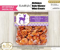 Text Editable Girl Deer Goodie  Treat Bag Toppers, DIY Favor Bag Digital File, print at home  n