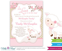 Little Lamb Girl Baby Shower Invitation for a New Baby Girl, Printable Sheep/Lamb Card for a baby shower,pink, brown, polka