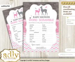 Girl Deer Word Scramble Game for Baby Shower nn