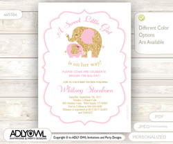 White, Soft Pink and Gold Girl Baby Shower - Mommy and Baby Elephant