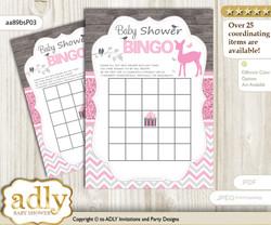 Printable Pink Deer Bingo Game Printable Card for Baby Girl Shower DIY grey, Pink, Glitter