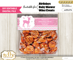 Text Editable Girl Deer Goodie  Treat Bag Toppers, DIY Favor Bag Digital File, print at home  nn