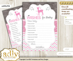 Girl Deer Wishes for a Baby, Well Wishes for a Little Deer Printable Card, Glitter, Pink