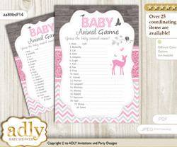 Printable Girl Deer Baby Animal Game, Guess Names of Baby Animals Printable for Baby Deer Shower, Pink, Glitter
